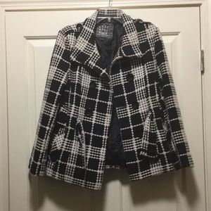 Black and White checkered pea coat